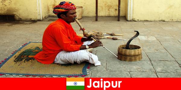 Di Jaipur India, pelancong alami tarian ular dan hiburan di jalanan yang sibuk